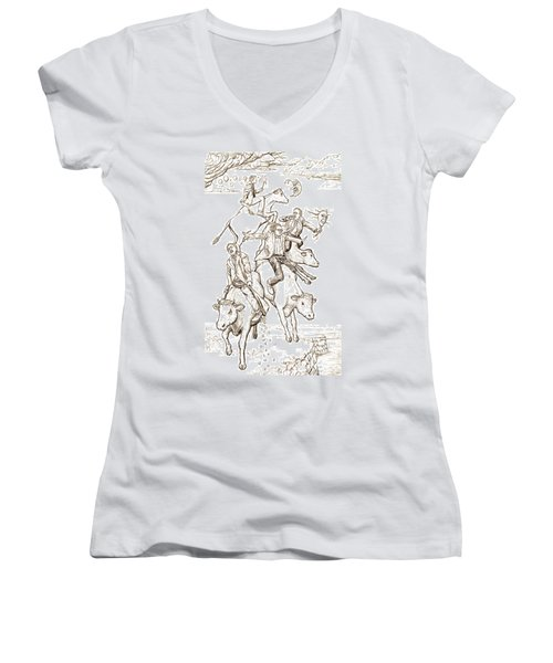 Women's V-Neck T-Shirt (Junior Cut) featuring the digital art Four Mad Cowboys Of The Apocalypse by Russell Kightley