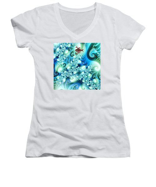 Women's V-Neck T-Shirt (Junior Cut) featuring the digital art Fractal And Swan by Odon Czintos
