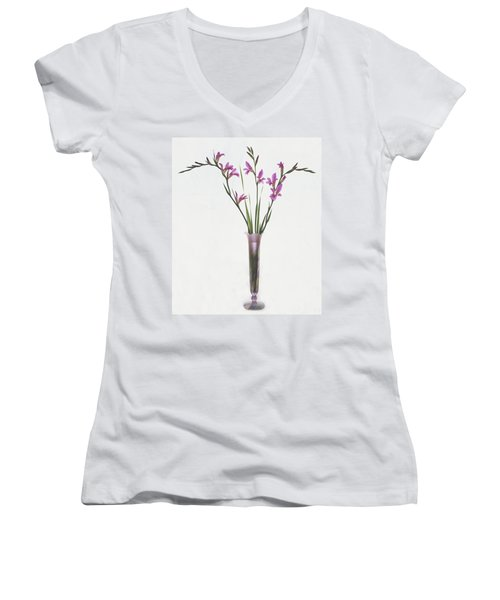 Freesias In Vase Women's V-Neck T-Shirt (Junior Cut) by Susan Rovira