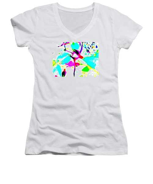 Women's V-Neck T-Shirt (Junior Cut) featuring the digital art Fuchsia by Barbara Moignard