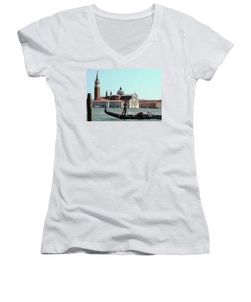 Gandola Rides In Venice Women's V-Neck T-Shirt