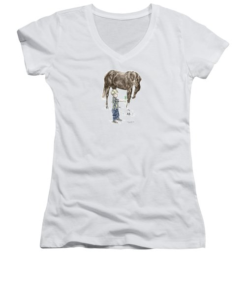 Getting To Know You - Boy And Horse Print Color Tinted Women's V-Neck T-Shirt (Junior Cut) by Kelli Swan