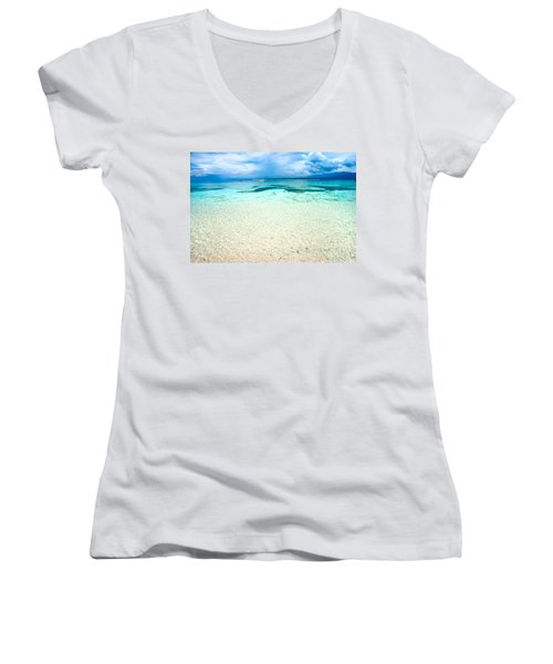Women's V-Neck T-Shirt (Junior Cut) featuring the photograph Gili Meno - Indonesia. by Luciano Mortula