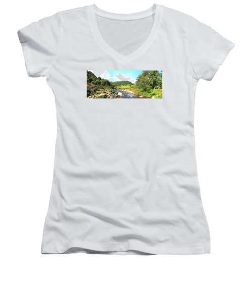 Glendalough Panorama Women's V-Neck T-Shirt (Junior Cut) by Ian Kowalski