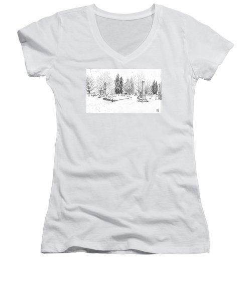 Graveyard In The Snow Women's V-Neck (Athletic Fit)