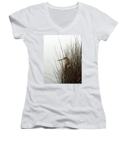 Women's V-Neck T-Shirt (Junior Cut) featuring the photograph Great Blue Heron by Kay Lovingood