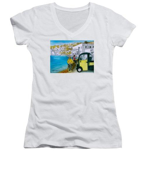 Greek Island Of Mykonis Women's V-Neck T-Shirt (Junior Cut) by Frank Hunter