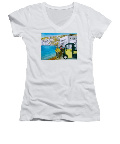 Greek Island Of Mykonis Women's V-Neck