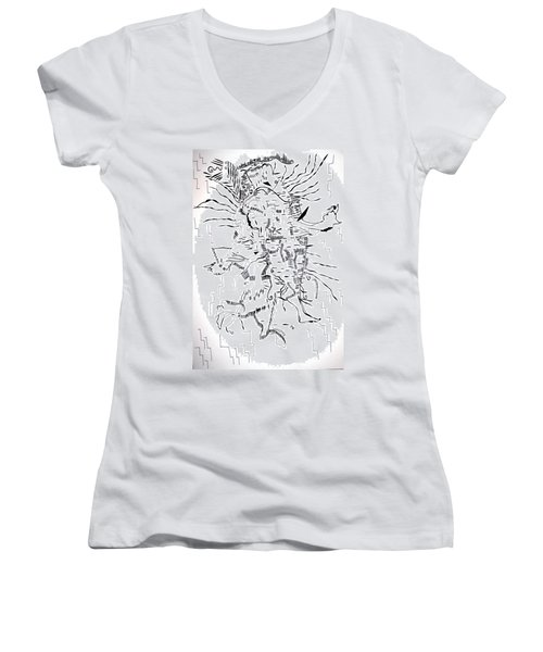 Women's V-Neck T-Shirt (Junior Cut) featuring the drawing Gule Wamkulu - Malawi by Gloria Ssali