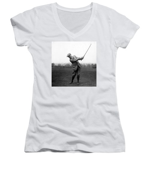 Women's V-Neck T-Shirt (Junior Cut) featuring the photograph Harry Vardon Swinging His Golf Club by International  Images