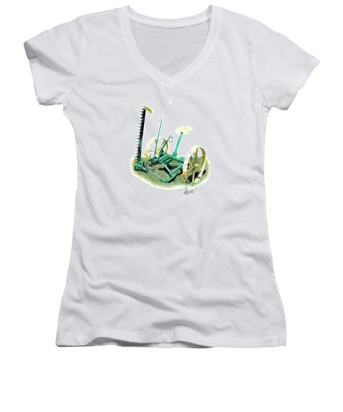 Hay Cutter Women's V-Neck T-Shirt (Junior Cut) by Ferrel Cordle