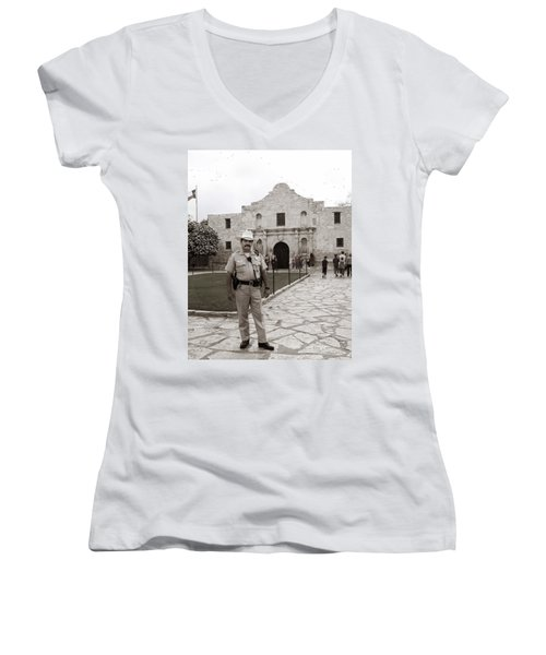 He Guards The Alamo Women's V-Neck