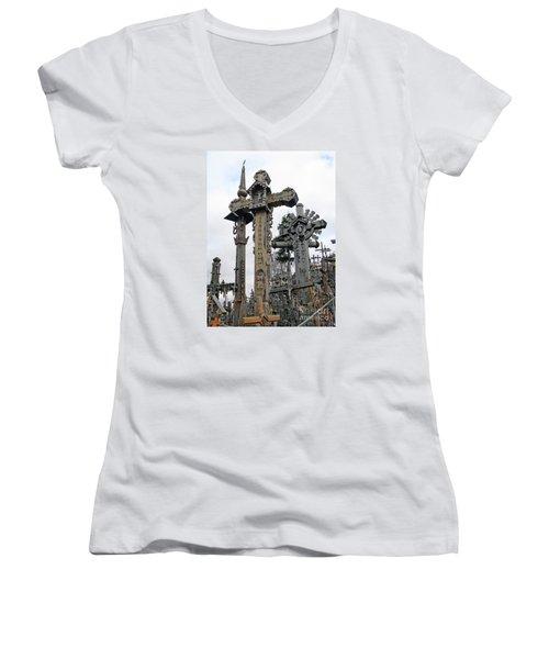 Hill Of Crosses 09. Lithuania Women's V-Neck T-Shirt (Junior Cut) by Ausra Huntington nee Paulauskaite