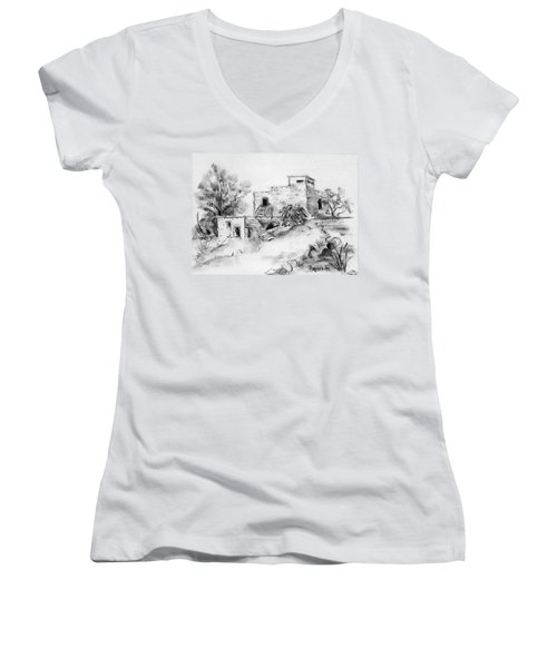 Hirbe Landscape In Afek Black And White Old Building Ruins Trees Bricks And Stairs Women's V-Neck T-Shirt