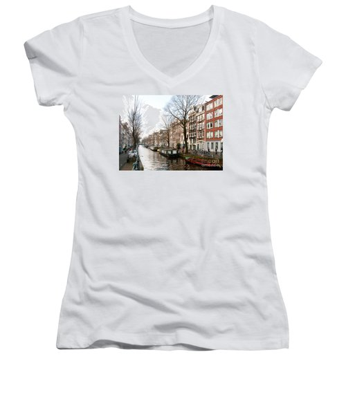 Women's V-Neck T-Shirt (Junior Cut) featuring the digital art Homes Along The Canal In Amsterdam by Carol Ailles