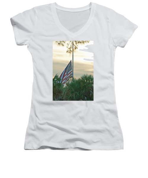 Honoring A Hero Women's V-Neck T-Shirt (Junior Cut) by John Black