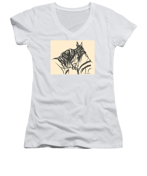 Women's V-Neck T-Shirt (Junior Cut) featuring the painting Horse - Together 9 by Go Van Kampen