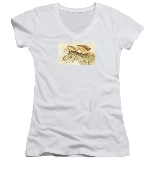 Women's V-Neck T-Shirt (Junior Cut) featuring the drawing Horse Sketch by Nareeta Martin