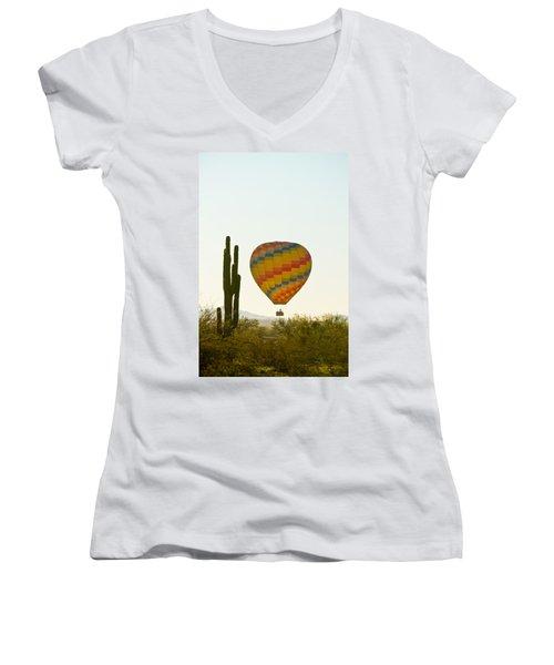 Hot Air Balloon In The Arizona Desert With Giant Saguaro Cactus Women's V-Neck