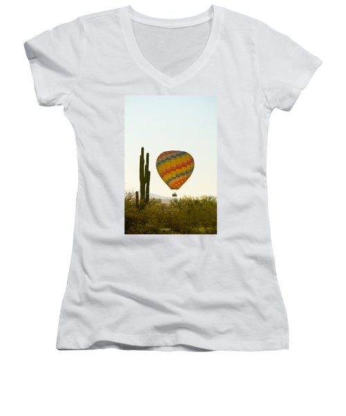 Hot Air Balloon In The Arizona Desert With Giant Saguaro Cactus Women's V-Neck