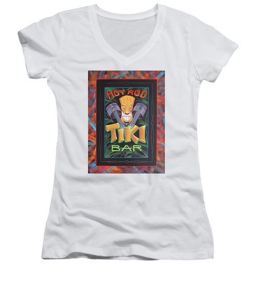 Hot Rod Tiki Bar Women's V-Neck (Athletic Fit)