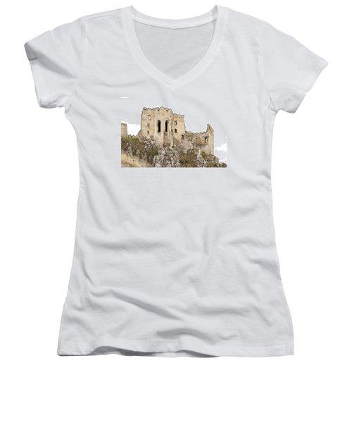Women's V-Neck T-Shirt (Junior Cut) featuring the photograph Hrad Beckov Castle by Les Palenik