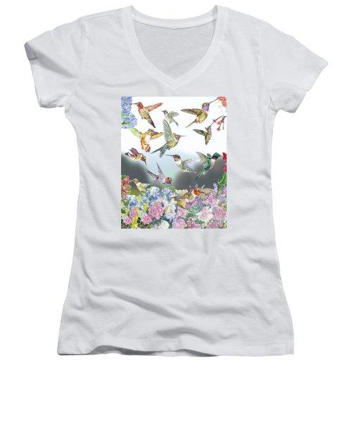 Hummingbirds Galore Women's V-Neck T-Shirt