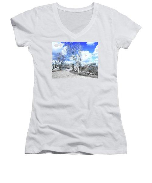 Women's V-Neck T-Shirt (Junior Cut) featuring the photograph Hwy 82 Coastal Louisiana by Lizi Beard-Ward
