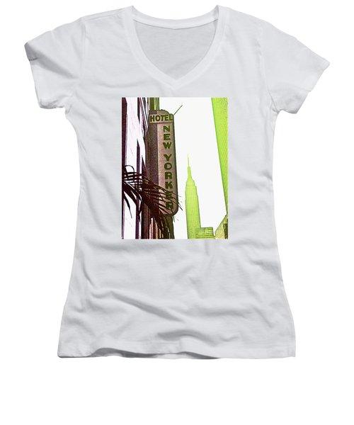 I Love New York Women's V-Neck T-Shirt (Junior Cut) by Beth Saffer