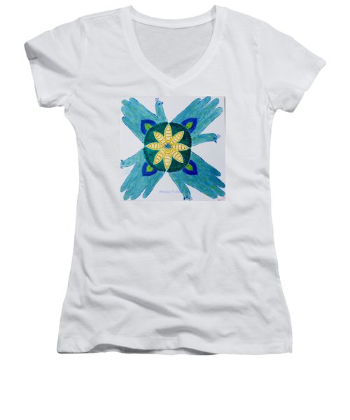 Women's V-Neck T-Shirt (Junior Cut) featuring the painting Impression by Sonali Gangane