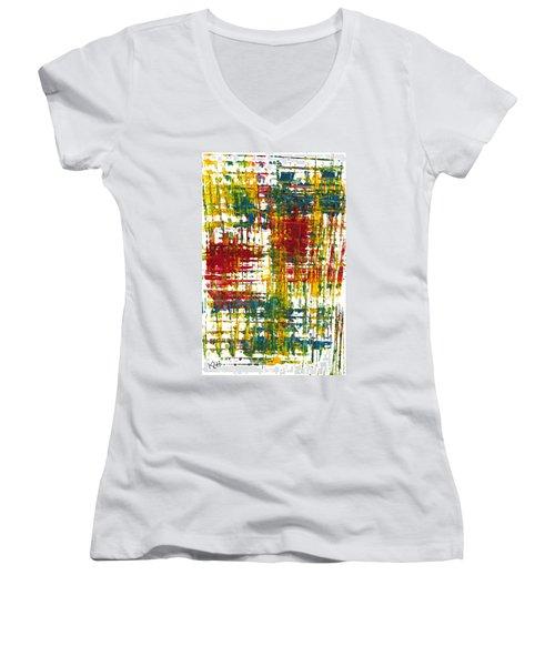 Women's V-Neck T-Shirt (Junior Cut) featuring the painting Inside My Garden 161.110411 by Kris Haas