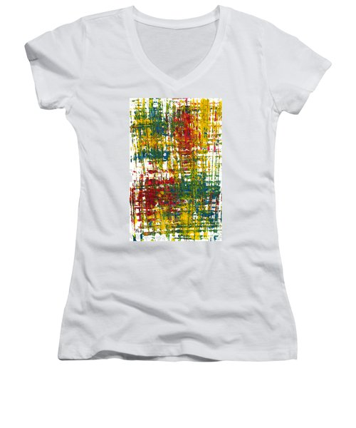 Women's V-Neck T-Shirt (Junior Cut) featuring the painting Inside My Garden II 162.110411  by Kris Haas