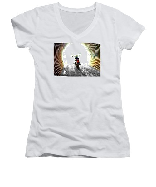 Women's V-Neck T-Shirt (Junior Cut) featuring the photograph Into The Light by Blair Stuart