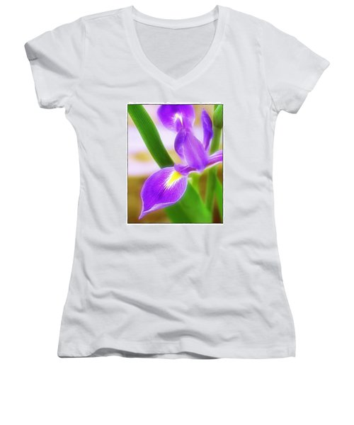 Women's V-Neck T-Shirt (Junior Cut) featuring the photograph Iris On Pointe by Judi Bagwell
