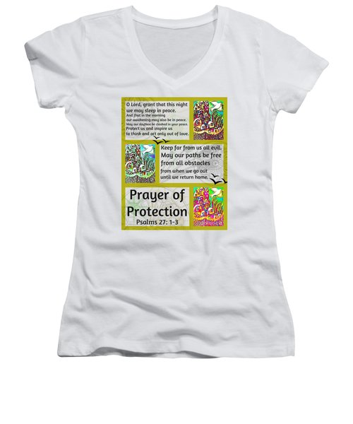 Jewish Prayer Of Protection City Of Jerusalem Gold Women's V-Neck T-Shirt