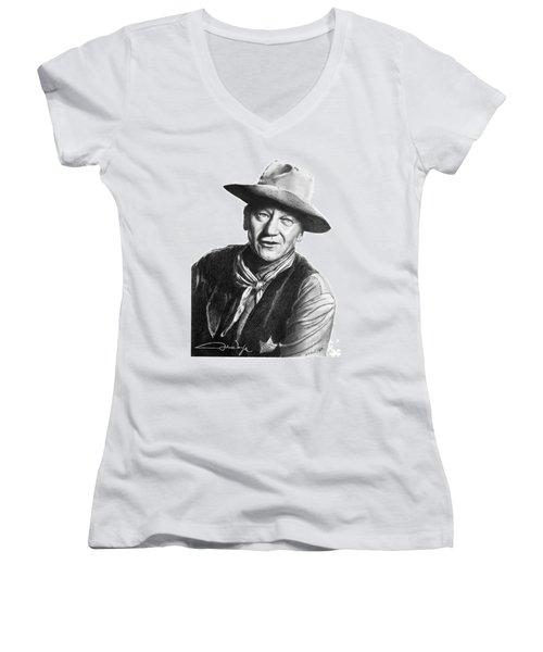 Women's V-Neck T-Shirt (Junior Cut) featuring the drawing John Wayne  Sheriff by Marianne NANA Betts