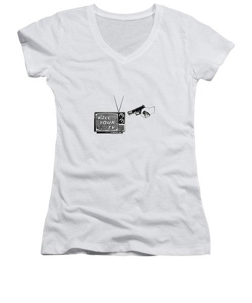 Kill Your Tv Women's V-Neck T-Shirt (Junior Cut) by Tony Koehl