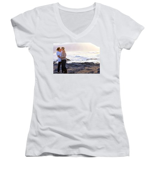 Kissed By The Ocean Women's V-Neck T-Shirt (Junior Cut) by Dawn Eshelman
