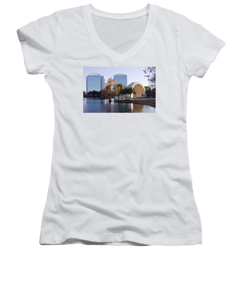 Women's V-Neck T-Shirt (Junior Cut) featuring the photograph Lake Eola's  Classical Revival Amphitheater by Lynn Palmer