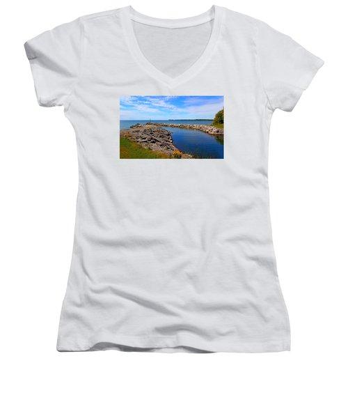 Women's V-Neck T-Shirt (Junior Cut) featuring the photograph Lakeside Bend by Davandra Cribbie