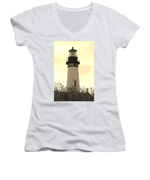 Lighthouse Tranquility Women's V-Neck T-Shirt (Junior Cut) by Athena Mckinzie