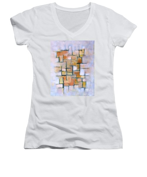 Line Series Women's V-Neck T-Shirt (Junior Cut) by Patricia Cleasby