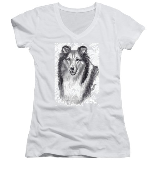 Women's V-Neck T-Shirt (Junior Cut) featuring the drawing Looks Like Lassie by Julie Brugh Riffey