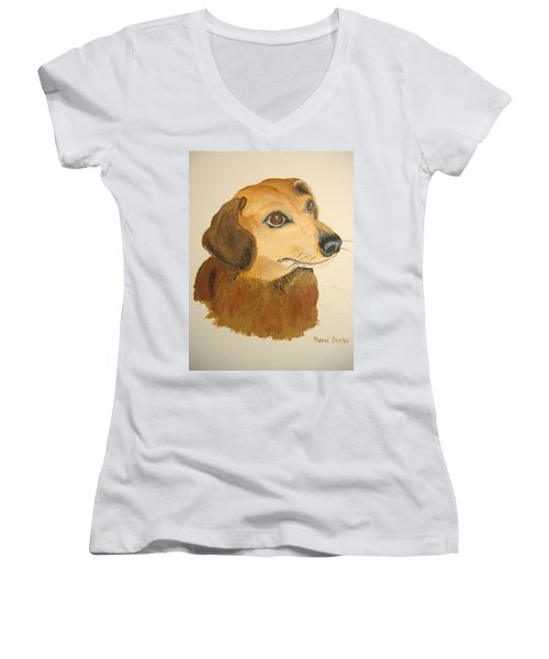 Women's V-Neck T-Shirt (Junior Cut) featuring the painting Lovable Dachshund by Norm Starks