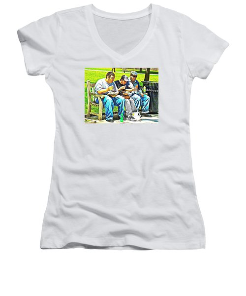 Women's V-Neck T-Shirt (Junior Cut) featuring the photograph Lunchtime by Alice Gipson