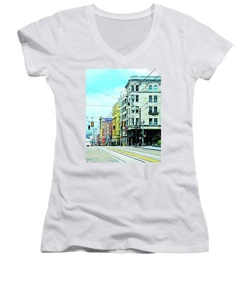 Women's V-Neck T-Shirt (Junior Cut) featuring the photograph Madison Avenue by Lizi Beard-Ward