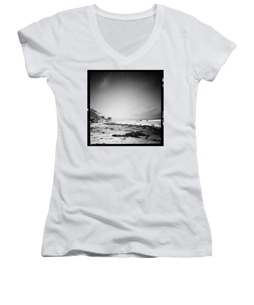Women's V-Neck T-Shirt (Junior Cut) featuring the photograph Malibu Peace And Tranquility by Nina Prommer