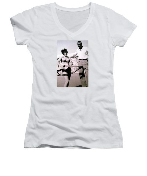 Mama Chris And Gary Cooper In Monte Carlo 1958 Women's V-Neck T-Shirt (Junior Cut) by Colette V Hera  Guggenheim