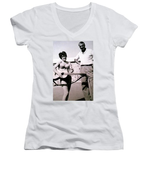 Mama Chris And Gary Cooper In Monte Carlo 1958 Women's V-Neck