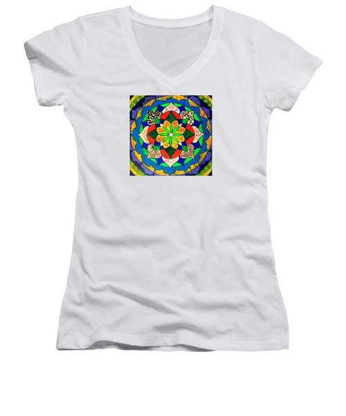 Mandala Circle Of Life Women's V-Neck T-Shirt (Junior Cut) by Sandra Lira